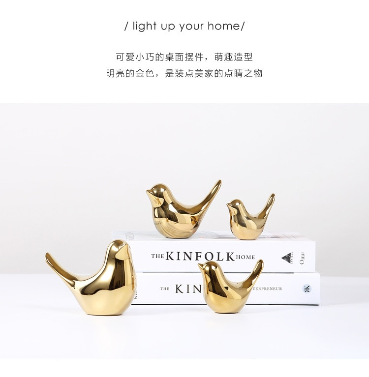2020 Creative Gold Decorations Ceramic Golden Bird Figurines Home Decoration Accessories Bird Figure Fashion Wedding Ornaments