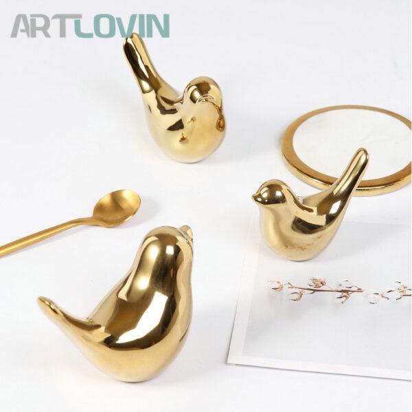 تماثيل الطيور الذهبية السيراميكية اكسسوارات منزلية