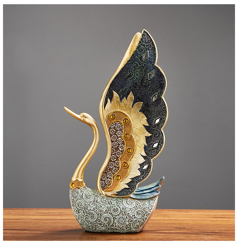 European Resin Couple Swan Ornament Home Decoration Crafts Wedding Gift Desk Art Figurines TV Cabinet Office Statue Accessories