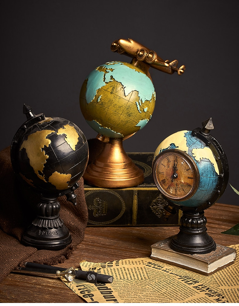 Retro Globe Clock Home Decoration Living Room Office Cafe Nostalgic Crafts Desktop Display Wedding Decoration Gift
