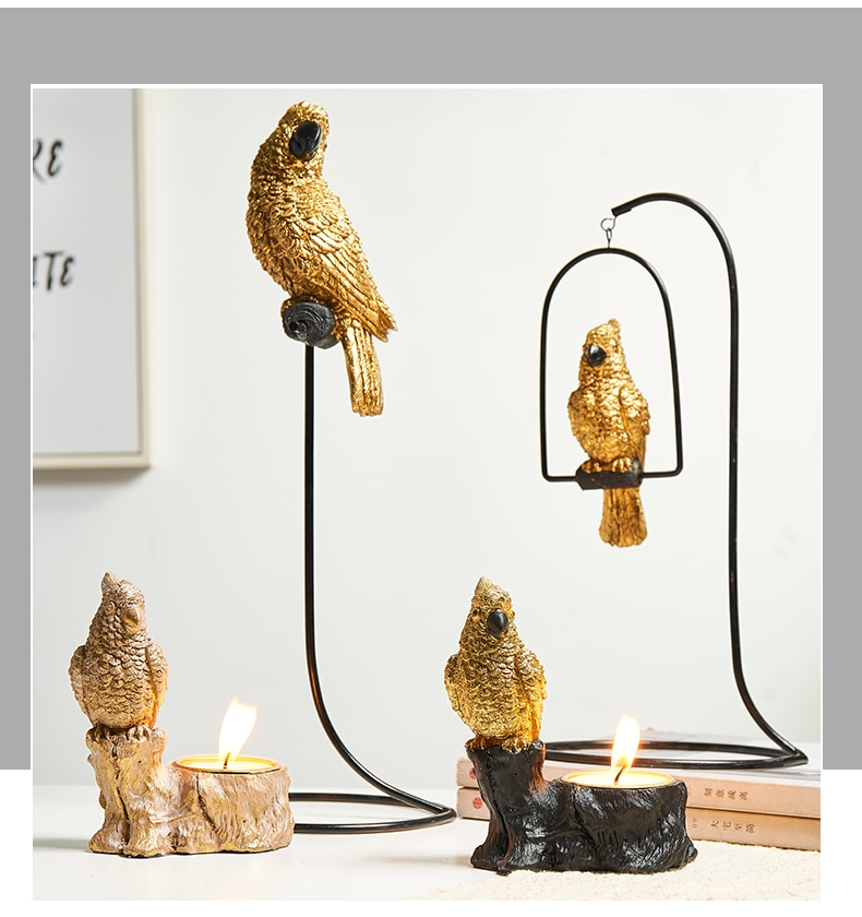 Postmodern Resin Animal Model Decortive Neoclassical Iron Home Decoration Accessories Bird Miniature Figurines Room Desk Decor