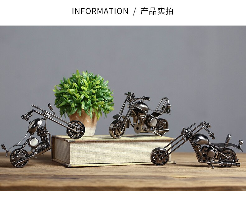 Vintage Motorcycle Model Iron Motorbike Prop Welding Crafts Kids' Toy Cafe Office Bar Shobo Home Decoration Christmas Gift