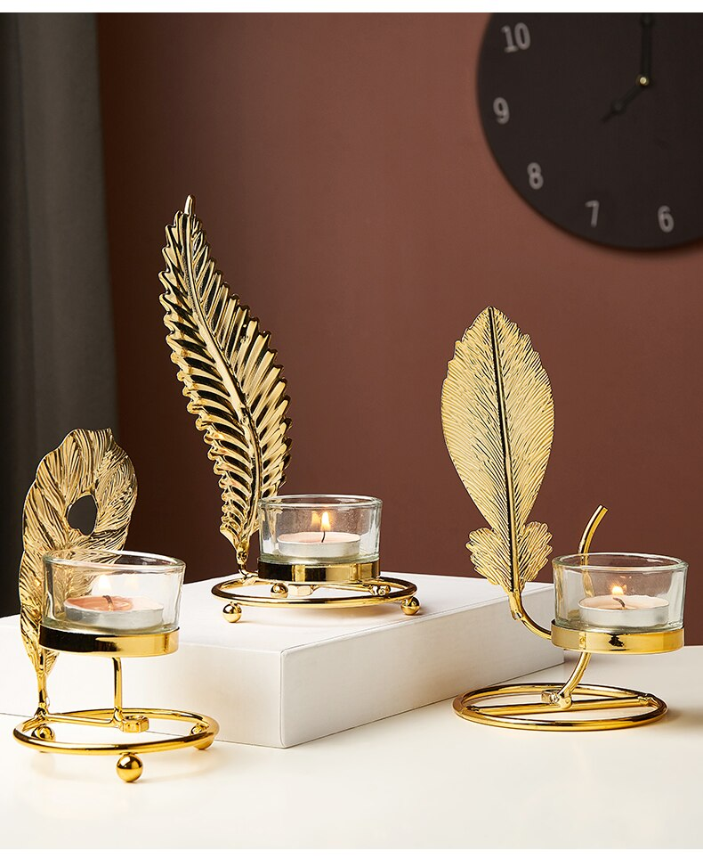 Modern Metal Tealight Candle Holders Creative Glass Candle Stand Decorative Candle Lantern Christmas Decorations For Home