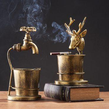 منفضة السجائر المعدنية الفاخرة اكسسوارات منزلية