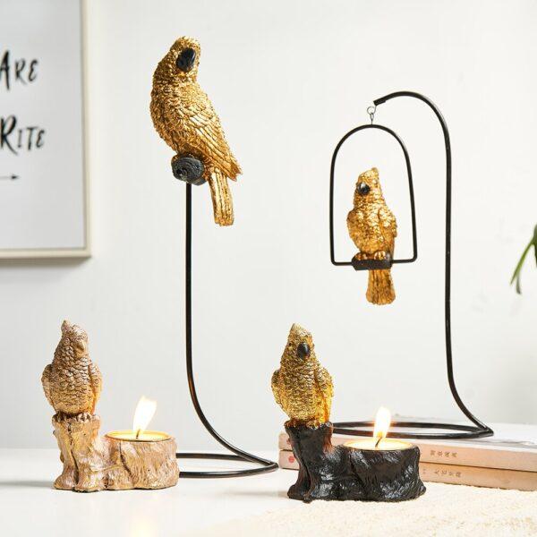 شمعدان زينة الطيور الطبيعي اكسسوارات منزلية