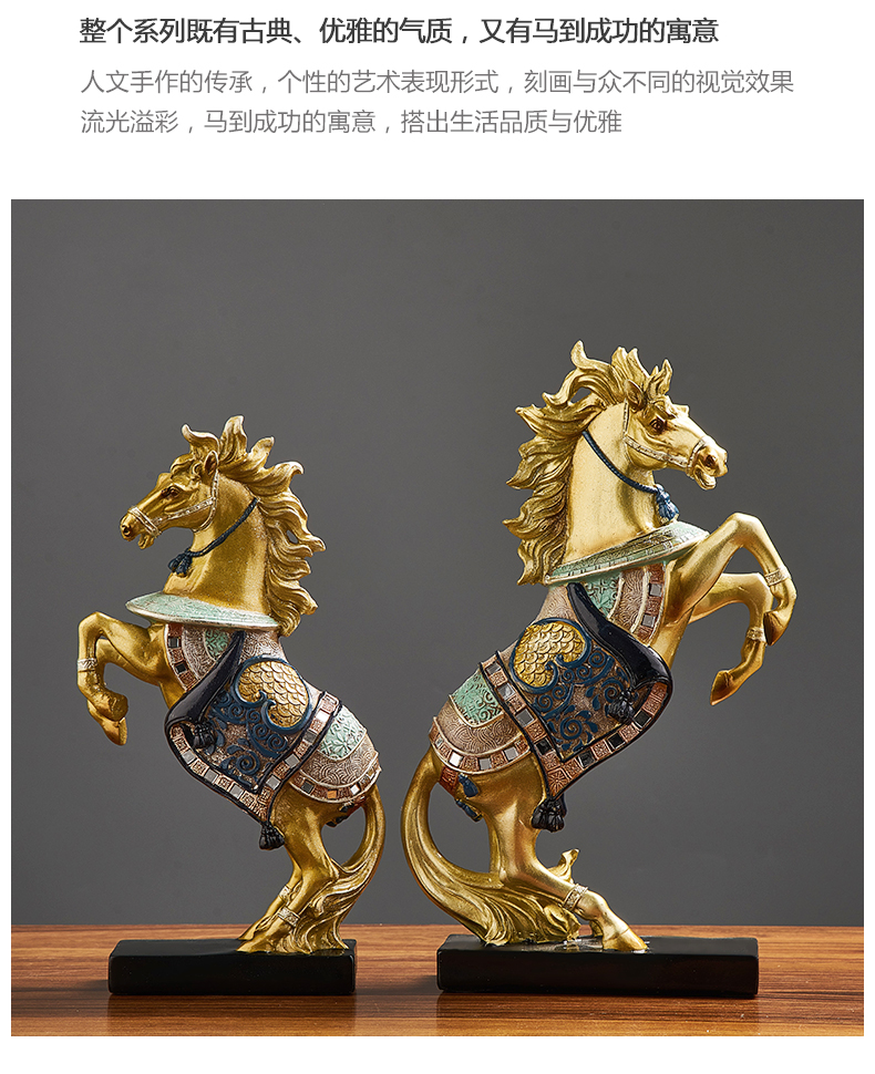 Chinese Style Resin Horse Model Art Statue Home Decoration Accessories Medieval Abstract Sculpture Modern Office Desk Decorative