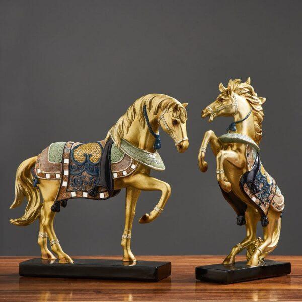تمثال الفرس العربي الاصيل الذهبي الثائر اكسسوارات منزلية