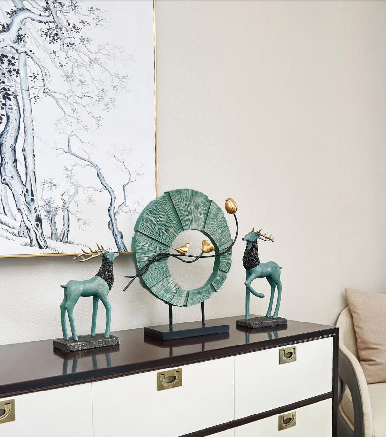 Chinese Creative Resin Deer Bird Round Shape Ornament Home Furnishing Decoration Crafts Livingroom Office Cafe Desktop Figurines