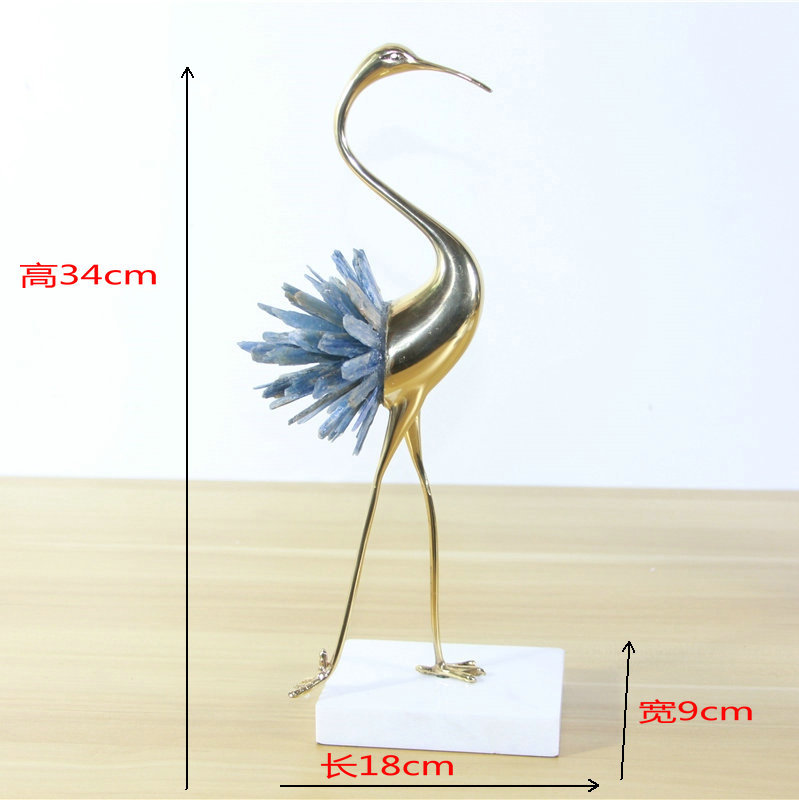 New Chinese-style Crane Model Copper Decoration Light Luxury European Modern Living Room Home Metal Decoration Crystal Jewelry