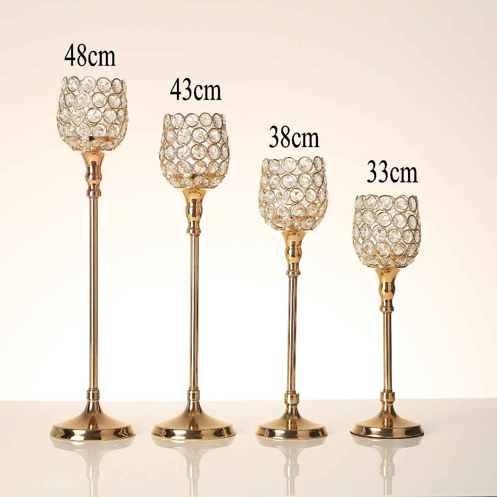 Crystal Candlesticks Pillar Glass Metal Candle Tealight Holders Lantern Home Wedding Table Centerpieces Decoration Accessories