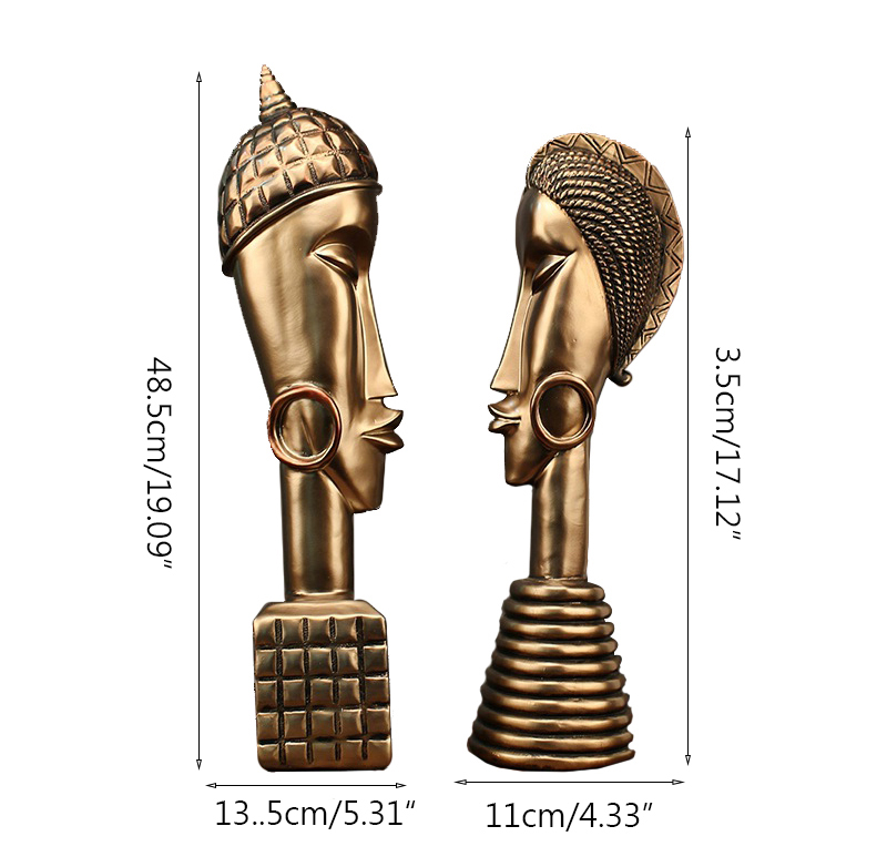 African Couple Resin Copper Miniature Model Figurines Home Decoration Accessories Wedding Decor Ornaments Sculpture Handcrafts