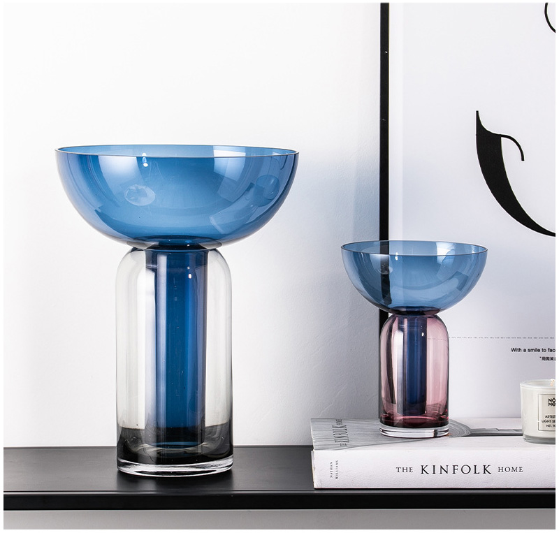 Nordic Colorful Geometric Funnel Glass Vase Home Decoration Accessories Creative Hydroponics Living Room Decor Desktop Display
