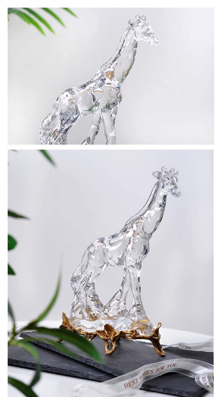 Luxtry Crystal Glass Giraffe Sculpture With Gold Brass Stand Modern Animal Statue Figurine Crafts Home Decor Accessories Gift
