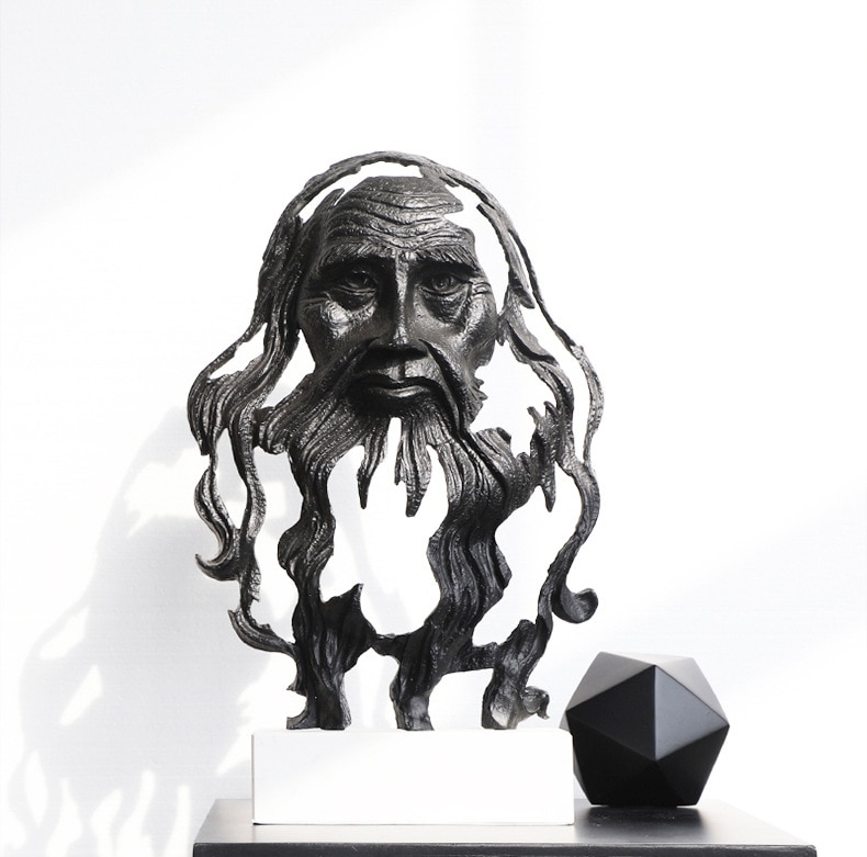 Luxtry Gold Black Einstein Da Vinci Face Sculptures Marble Statue Metal Crafts Home Hotel Office Decor Furnishings Accessories