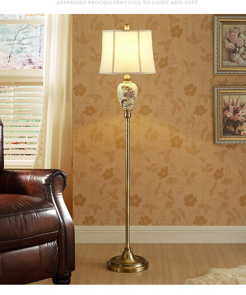 Hand Drawn Parrot Pattern Ceramic Floor Lamp Moder Standing Lamp For Living Room Foyer Beside Lamp Porcelain Floor Light Fixture