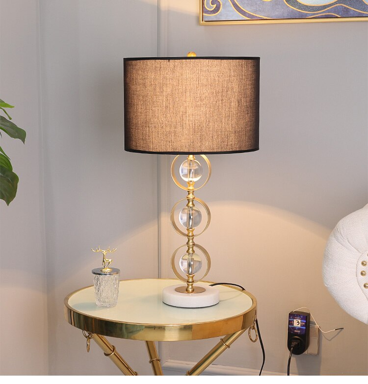 Modern Crystal Ball In Metal Circle Table Lamp For Bedroom Bedside Living Room Hotel Engineering Light White Marble Table Lamp