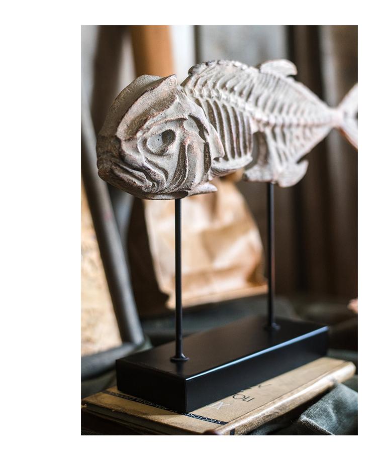 Prehistoric Fossil Resin Statues Ornament Home Decor Crafts Fish Bone Fossil Art Office Desktop Figurines Sculptures Accessories