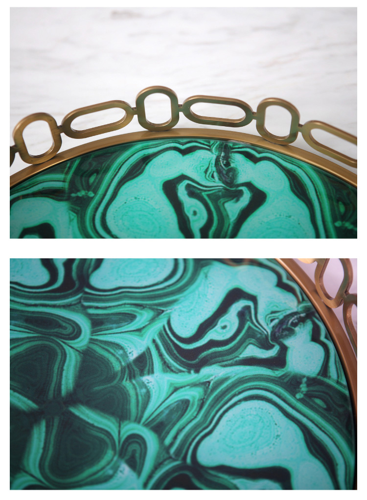 Europe Round Green Agate Stone Texture Plates Jewelry Copper Tray Ivory White Palace Carved Flowers Golden Jade Storage Trays