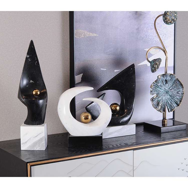 Modern Arc Plating Gold Ball Marble Statue Home Crafts Living Room Decor Objects Office Marble Sculpture adornos para casa