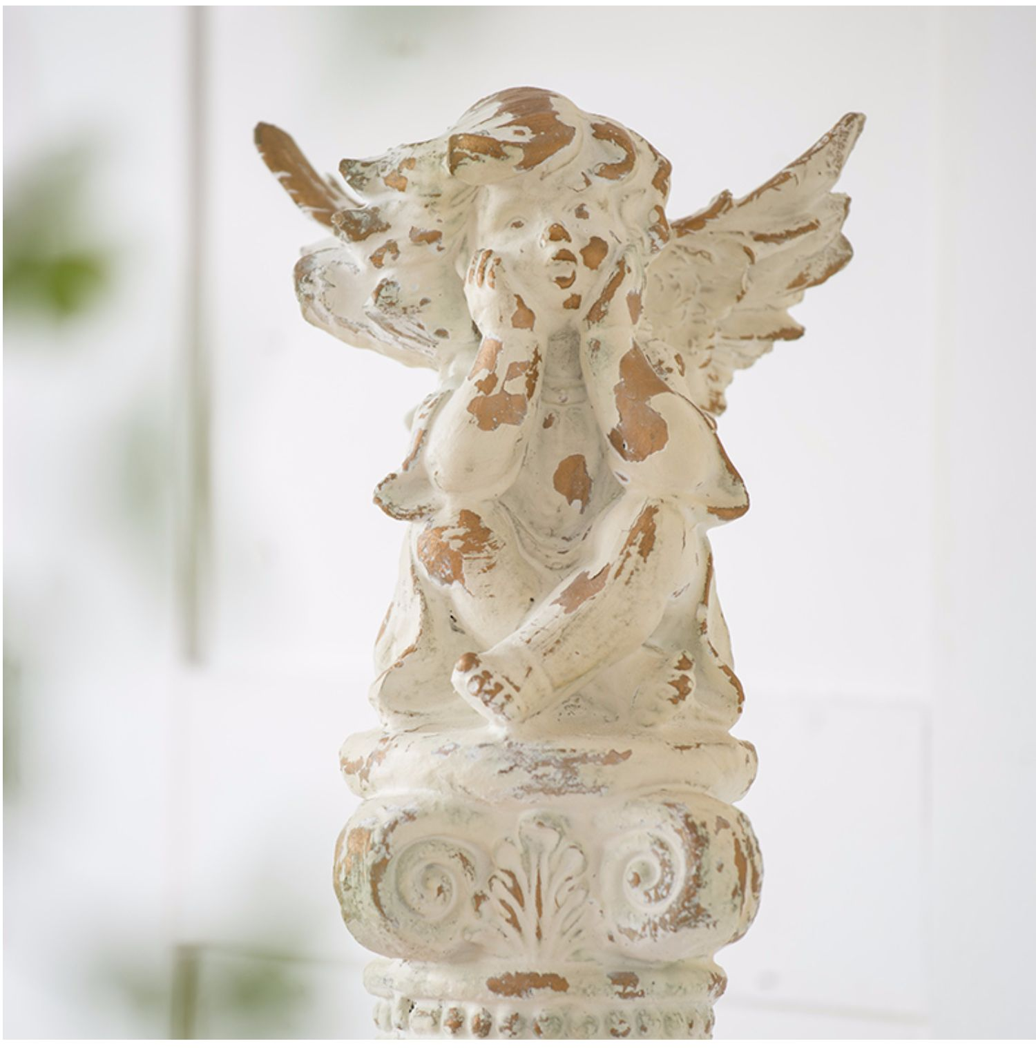 Home Garden Decoration Accessories Angel Boy Sitting On Roman Column Think Figurine Living Room Ornament Objects Sculpture Gifts