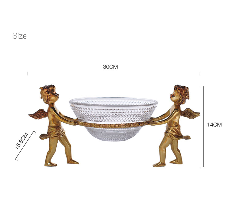Luxury Gold Brass Two Angel Elf Boys Holding Dishes Statue Home Glass Fruit Plate Living Room Decor Fruit Plate Bowl Candy Dish