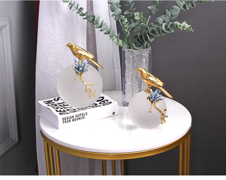 Modern Golden Bird Stand On Frosted Crystal Ball Figurines Home Crafts Living Room Decor Objects Office Brass Accessories Gifts
