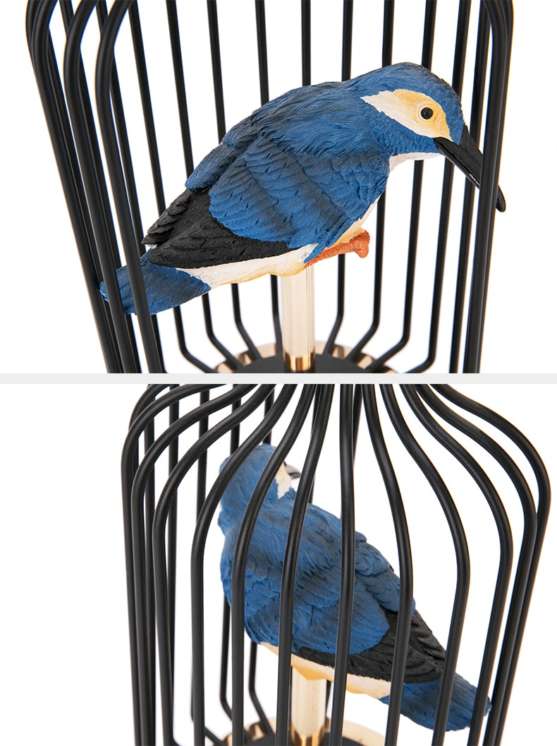 Modern Black Metal Birdcage With Blue Resin Bird Statue Art Decor For Home Sculpture Escultura Accessories oggetti per la casa