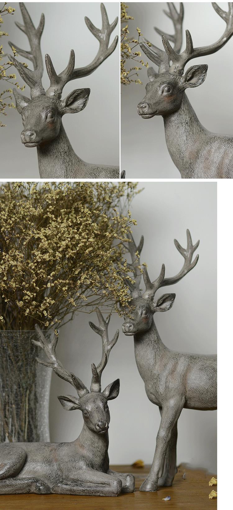 Rustic Standing Deer Statue Resin Animal Craft Retro Home Decoration Accessories Squat Elk Sculpture Decorations Creative Gift