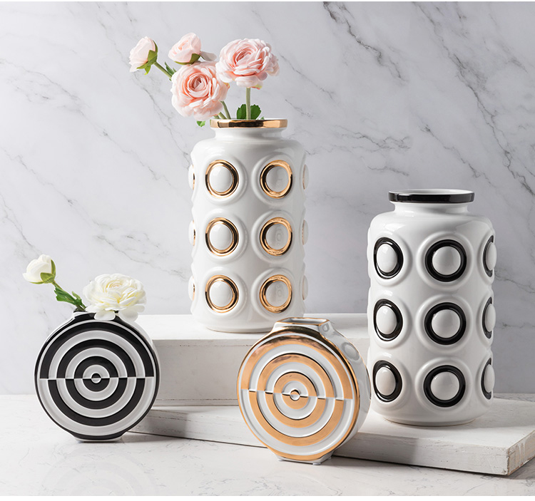 Europe Gold-Plated Geometric Circles Porcelain Vase For Home Decor Tabletop Vases For Flowers For Centerpieces For Wedding