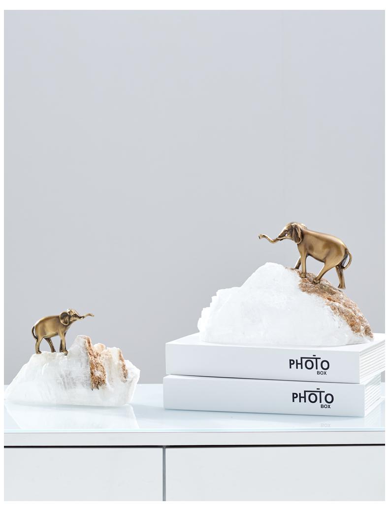 Modern Brass Elephant Walking On Natural Spar Designer Statue Home Crafts Room Decor Objects White Spar Sculpture Accessories