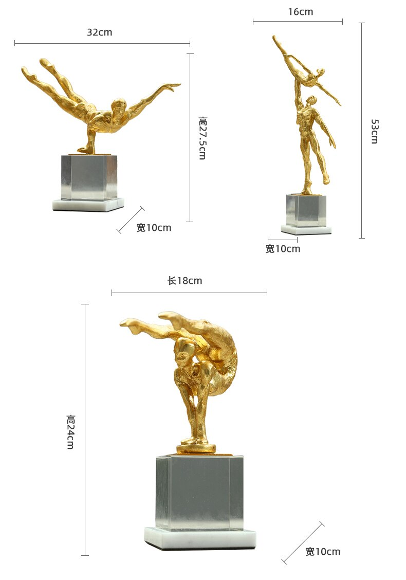 Modern Abstract Art Yoga Hold Gold Characters Statue Home Hotel Gymnastics Craft Room Decor Objects Offic Crystal Sculpture Gift