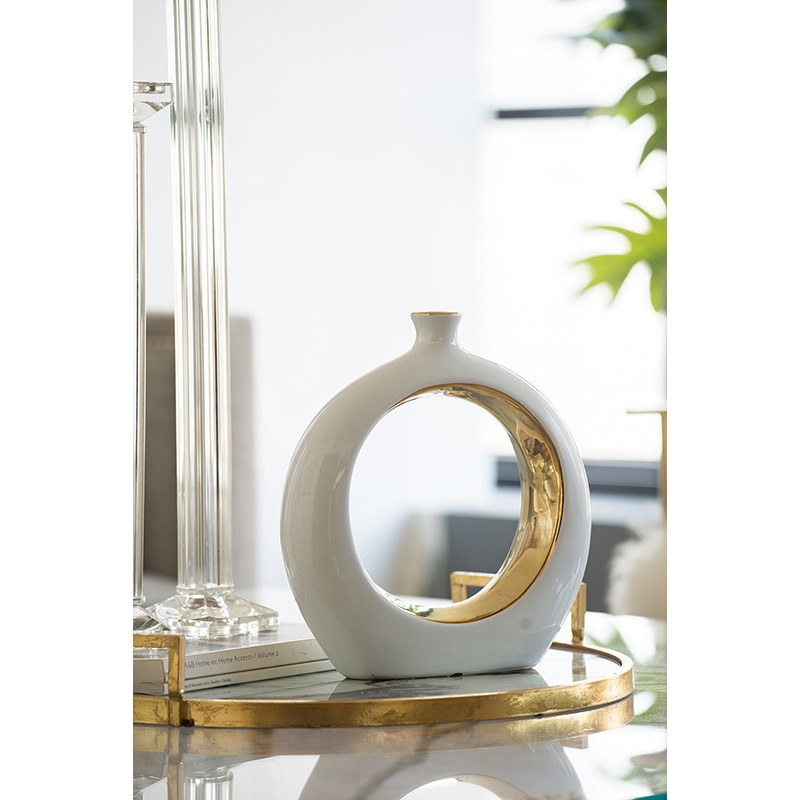 Creative Hollown Round Squear Luster Golden Ceramic Vases Home Decoration Planters Office Desktop Porcelain Vase Friend Gifts