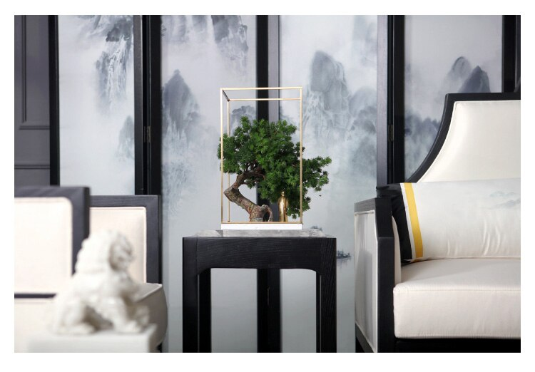 Simulation Plant Bonsai With Gold Metal Frame Modern Brass Character Stand Under The Banyan Tree Ornaments Decor Home Room Hotel
