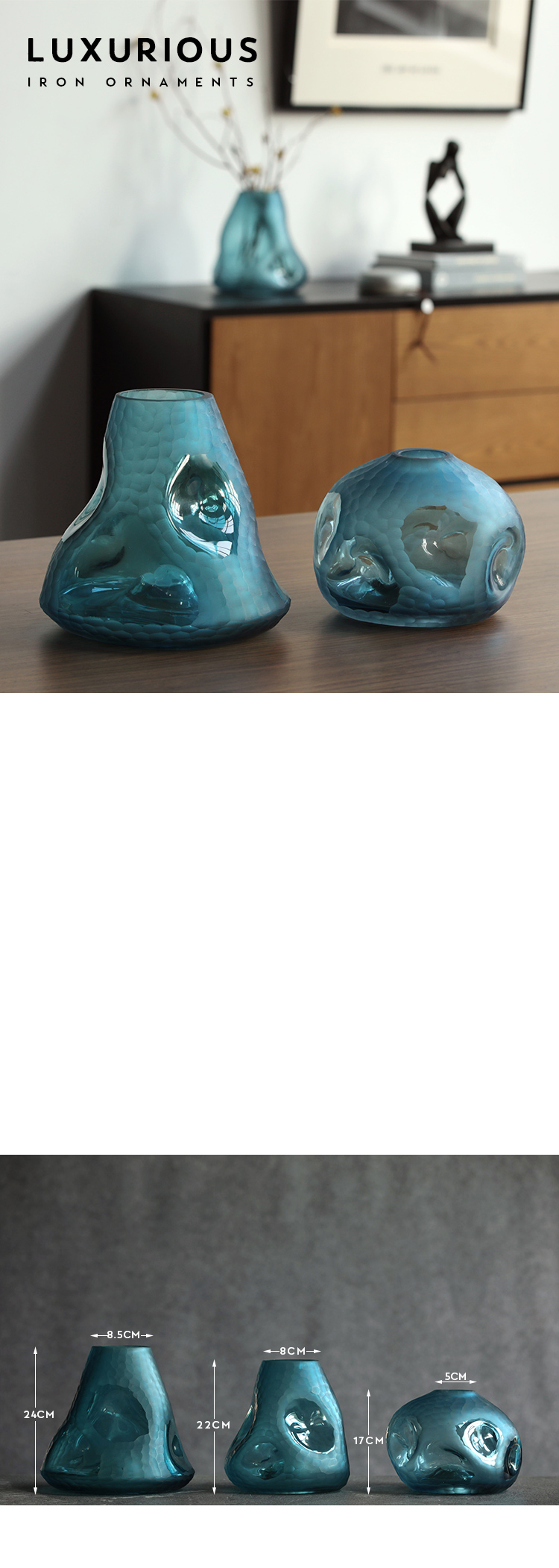 Modern Bizarre Bumpy Shapes Tabletop Vases Creative Blue Glass Ornaments Craft Glass Vase For Home Hotel Desktop Accessories