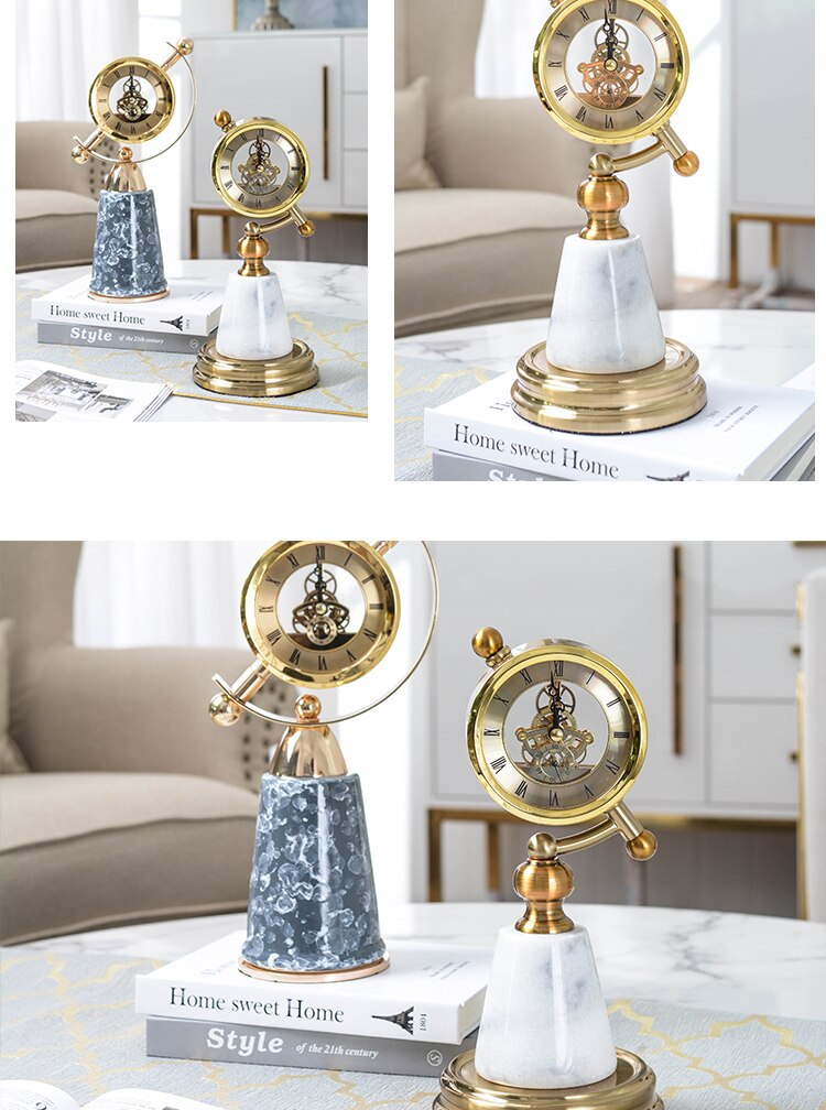 Modern Conical White Green Marble Ornament Figurines Decorative Gold Pendulum Clock Table Home Room Soft Decoration Accessories