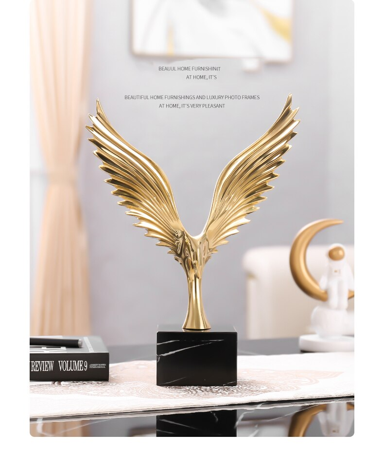 Copper Abstract Wings Statue Office Desk Decorative Marble Ornament Accessories Gift Home Decor Figurine Living Room Ornament