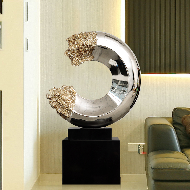 43cm Creative Plating Silver Abstract C Shape Statue Home Decor Crafts Room Objects Office Resin Marble Figurines Wedding Gifts