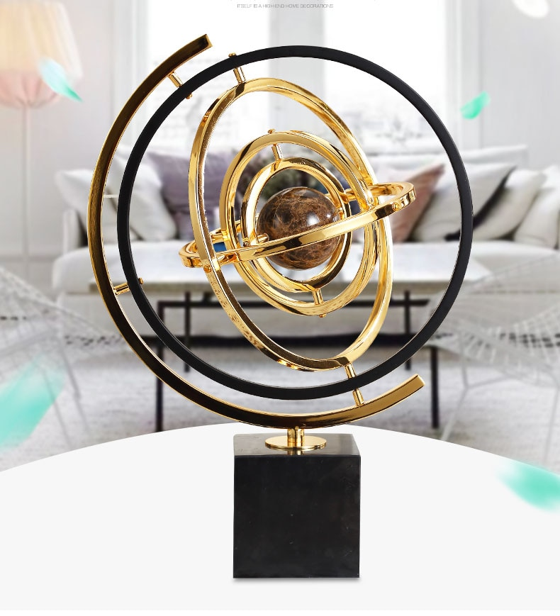 Home Decor Accessories Brown Marble Ball Enclosed In Metal Figurine Living Room Ornament Objects Office Marble Christmas Gift