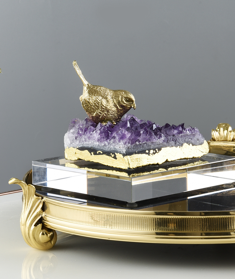 Home Decor Accessories Gold Brass Bird Stand Natural Pureple Crystal Stone Ornament Decor Living Room Office Objects Gifts
