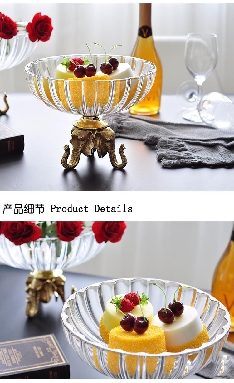 Luxury Elephant Head Gold Brass Statue Home Glass Fruit Plate Living Room Creative Decor Dried Fruit Plate Fruit Bowl Candy Dish