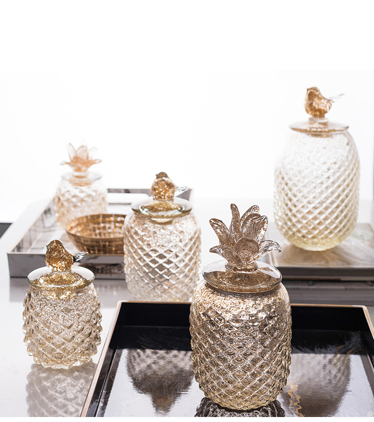 Nordic Luxury Glass Ornaments Birdie Pineapple Golden Glass Storage Tank Storage Jar Candy Jar Home Desktop Decor Accessories