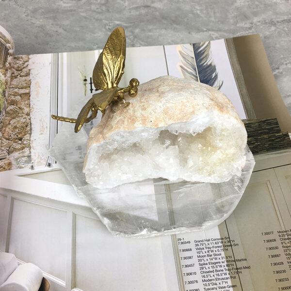 تمثال ذبابة كرة الكريستال الحقيقي اكسسوارات منزلية