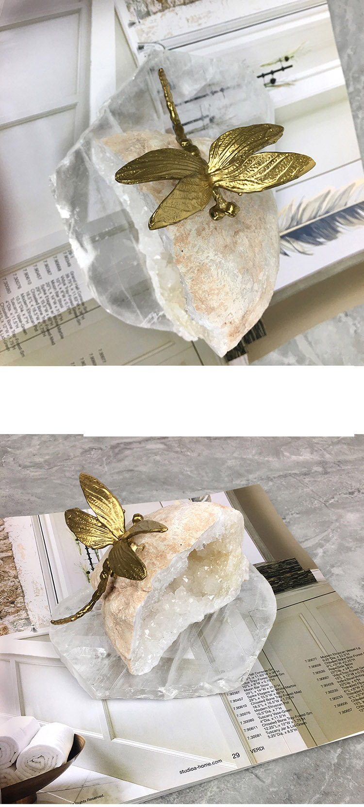 Luxurious Gold Dragonfly Resting On Natural Crystal Stone Sculpture Modern Copper Figurine Crafts Home Decor Accessories Gift