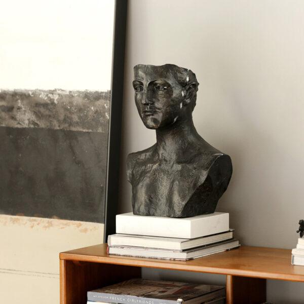 تمثال رأس انسان اليونان القديم الاسود اكسسوارات منزلية