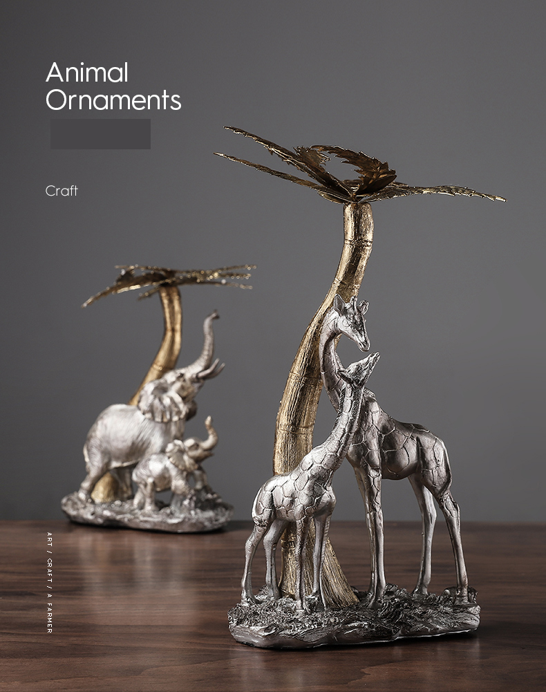 Home Decor Crafts A Pair Of Elephants And Giraffes Playing Under The Palm Tree Sculpture Desktop Ornament Figurine Resin Statue