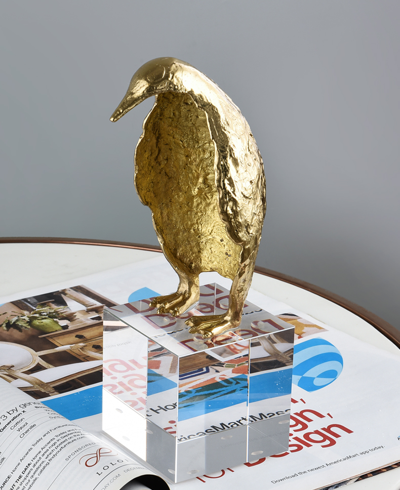 Modern Gold Brass Standing Penguin Ormanment Home Crystal Art Crafts Living Room Hotel Decor Objects Office adornos para casa