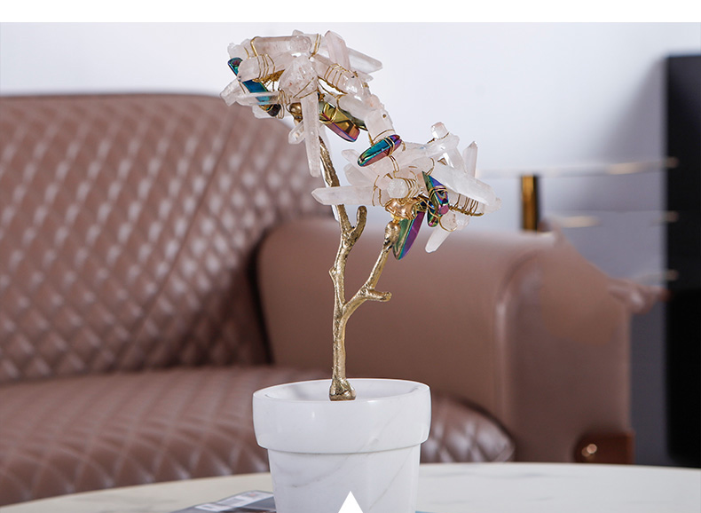 Modern Metal Wire Winding Natural Crystal Stone Pot Crafts Desktop Ornaments Creative For Office Home Decor Marble Crafts Gift