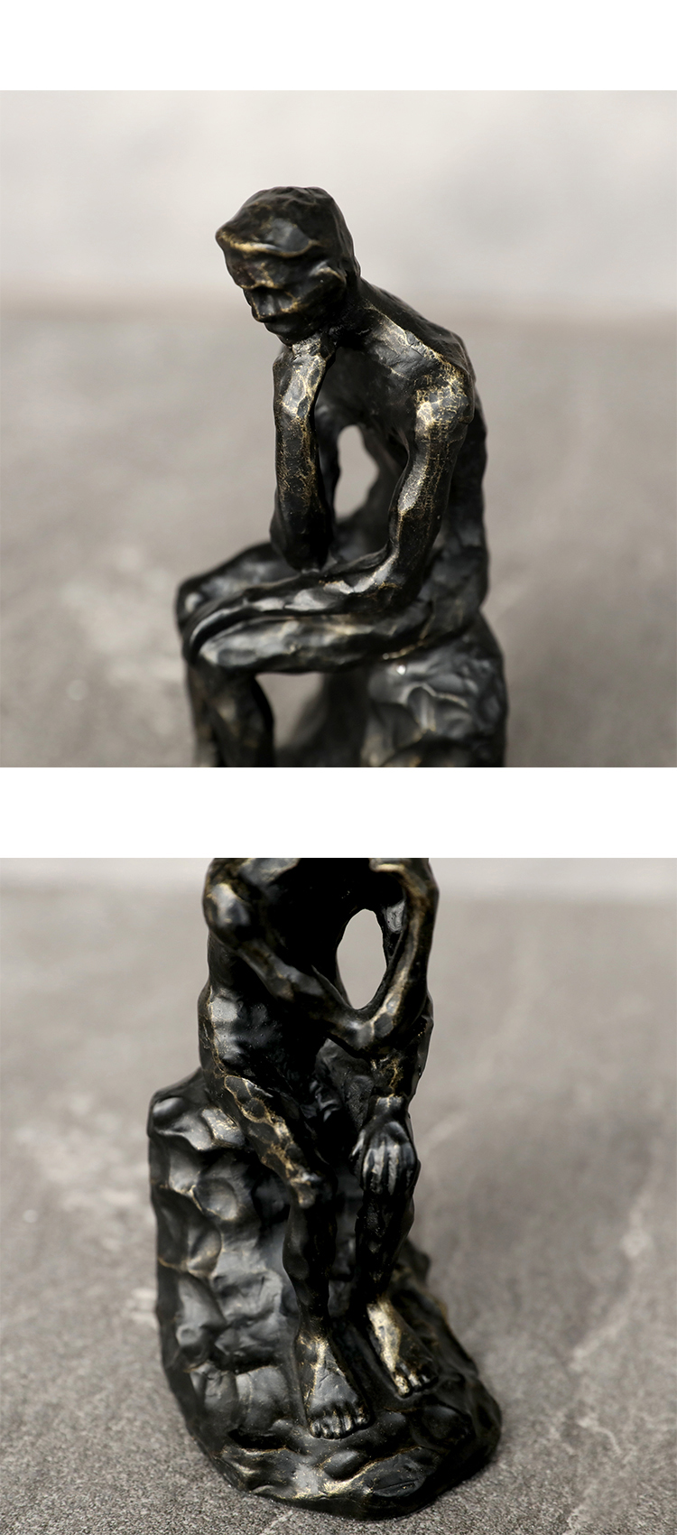 Nordic Style Metal Thinker Character Luxury Bookend Sculpture Modern Art For Home Ornaments Decoration Accessories Figurine