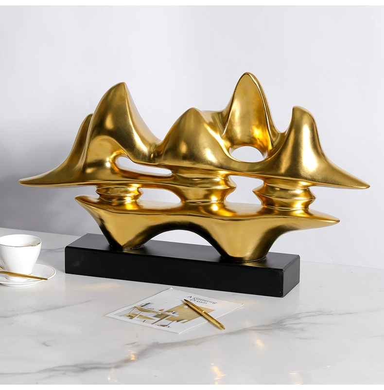 Luxtry Plating Matte Gold Endless Mountain Art Statue Home Ceramic Crafts Living Room Decor Objects Office Sculpture Accessories