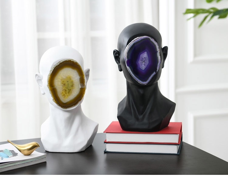 Modern Abstract Human Head Inlaid With Natural Agate Pieces Sculpture Statue Resin Figurine Crafts Home Decor Accessories Gift